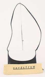 Nordstrom Black White Leather Convertible Clutch To Crossbody B170 Baguette