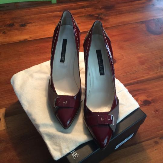 Gianfranco Ferre Leather Patent Leather Contrast Stitching Burgundy/Gray Pumps