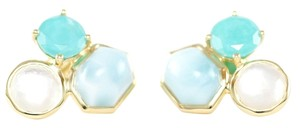 Ippolita IPPOLITA 18K Yellow Gold Rock Candy 3 Stone Turquoise Float Stud Post Earrings