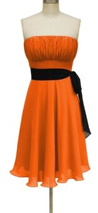Orange Chiffon Tangerine Strapless Pleated Bust W/ Removable Black Sash Formal Bridesmaid/Mob Dress Size 2 (XS)
