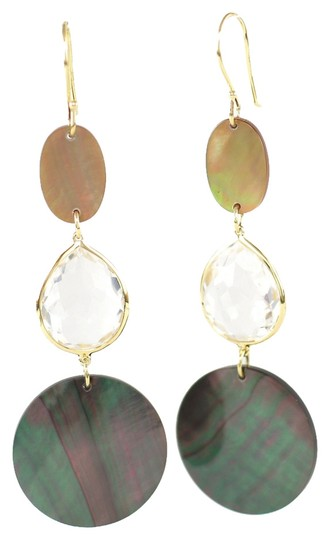 Ippolita IPPOLITA 18K Yellow Gold Brown Black Shell Quartz Portofino Long Drop Earrings