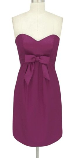 Purple Satin Sweetheart Bow Formal Bridesmaid/Mob Dress Size 6 (S)