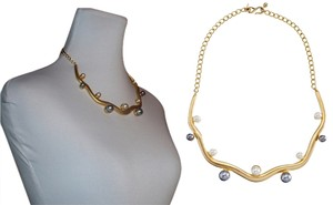 Kenneth Jay Lane Kenneth Jay Lane Satin Gold Wavy Bib Choker/Necklace