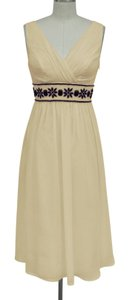 Beige Chiffon Goddess Beaded Waist Destination Wedding Dress Size 12 (L)