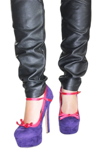 Two Lips Heels Mary Jane Platform Bow Purple/Pink Pumps