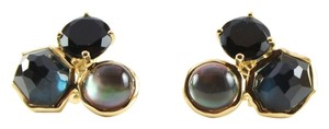 Ippolita IPPOLITA 18K Yellow Gold Lago Rock Candy 3 Stone Stud Earrings Back Onyx
