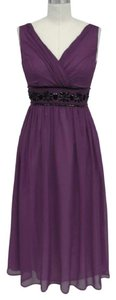 Purple Chiffon Goddess Beaded Waist Cocktail Formal Modern Bridesmaid/Mob Dress Size 20 (Plus 1x)