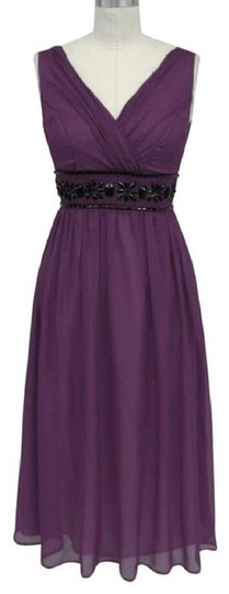 Purple Chiffon Goddess Beaded Waist Cocktail Formal Modern Bridesmaid/Mob Dress Size 26 (Plus 3x)