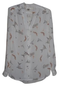 Kenar Button Down Sheer Feminine Top White, Pink & Brown