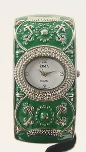 Tima Green Silver Tone Metal Bracelet Watch Bj08