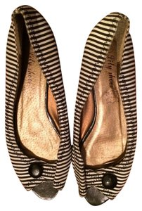 Lily Shoes Black and White Stripes Flats