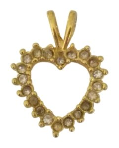 Other Vintage Gold CZ Heart-shaped Pendant