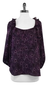 Nanette Lepore Feather Print Silk Top