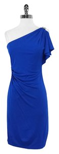 David Meister short dress Blue Draped One Shoulder on Tradesy
