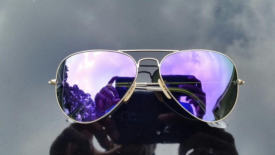 Ray Ban Gold Frame Purple Lens Sunglasses 47 Off Ray