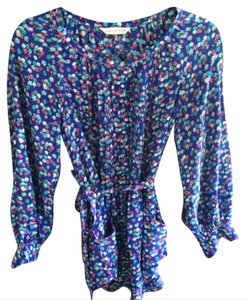 Rebecca Taylor Floral Floral Long Sleeve Floral Silk Tunic