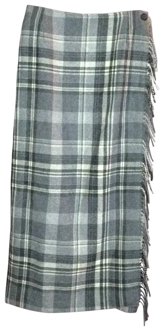 Bass Wrap Fully Lined Feminine Warm Skirt gray plaid