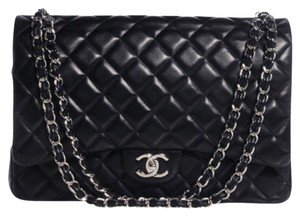 Chanel Maxi Lambskin Double Flap Shoulder Bag