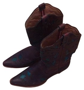 Twisted Brown and Teal Green Boots