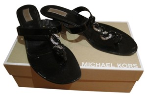 Michael Kors Heel Shiny Rhinestone Patent Patent Leather Black Sandals