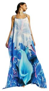 blue white flower Maxi Dress by Victoria Luxury Silk Kaftan Kaftan
