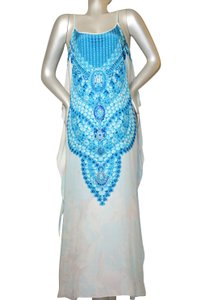 white blue Maxi Dress by Victoria Luxury Silk Kaftan Kaftan