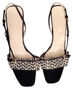 Prada Vintage Woven Black and White Sandals
