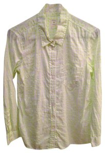 Gap Shirt Button Down Shirt Neon Lime Green Dot