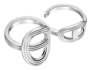 Hermès Hermes Chaine d'Ancre 24 Double Finger Silver Ring
