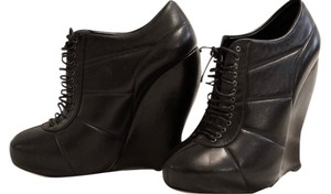Nina Ricci Leather Wedge Party Lace Black Boots