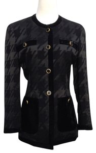 Escada Jacket Jeweled Herringbone Black Blazer