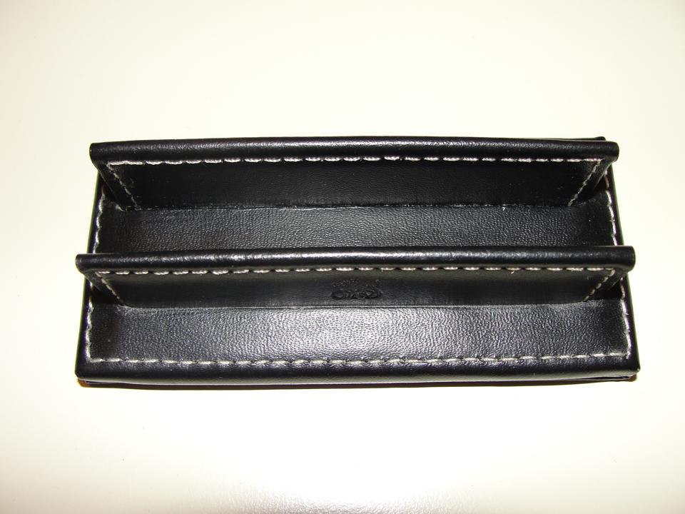 Coach black leather business card holder display tradesy reheart Gallery