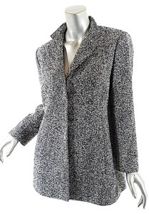Agnona Italy Black White Tweed Jacket
