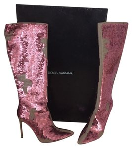 Dolce&Gabbana Stiletto Sequin Sexy Luxury Nude pink Boots