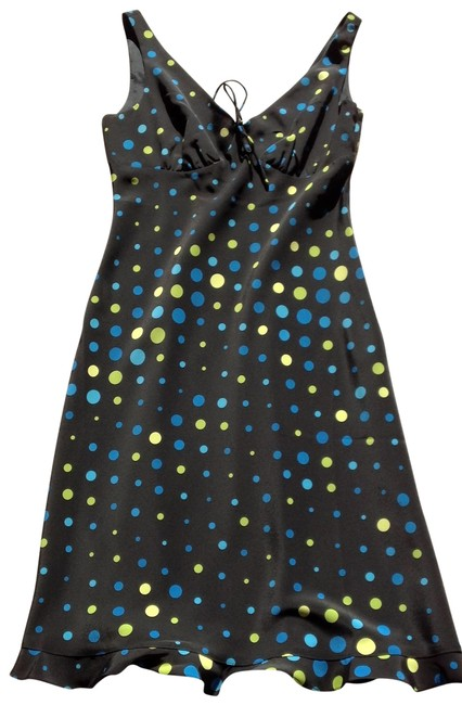 Express Black with Blue Teal & Yellow Polka Dot Super Cute V Neck Ruffle Bottom Night Out Dress Size 4 (S) Express Black with Blue Teal & Yellow Polka Dot Super Cute V Neck Ruffle Bottom Night Out Dress Size 4 (S) Image 1