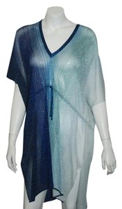 Missoni MISSONI MARE 62 NWT $740 BLUE SHIMMERY SS CAFTAN TUNIC COVERUP SIZE M
