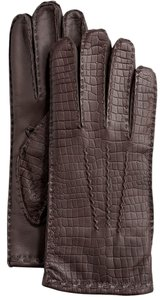 Hilts-Willard Men's Croc-Embossed Lambskin Gloves, Dark Brown, XL