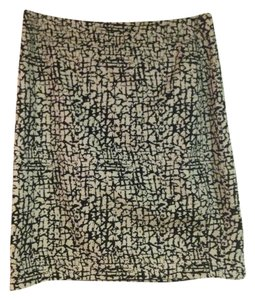 Valerie Bertinelli Print Work Pattern Classic Fun Skirt Black and Ivory