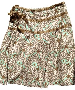 Gap Spring Ribbon Fully Lined Skirt white with teal and mocha design
