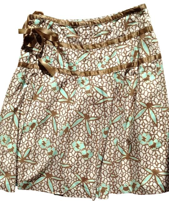 Gap Spring Ribbon Detail Fully Lined Skirt white with teal and mocha design