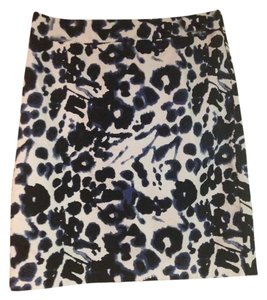 Valerie Bertinelli Pattern Print Work Versatile Skirt Black, Blue and White