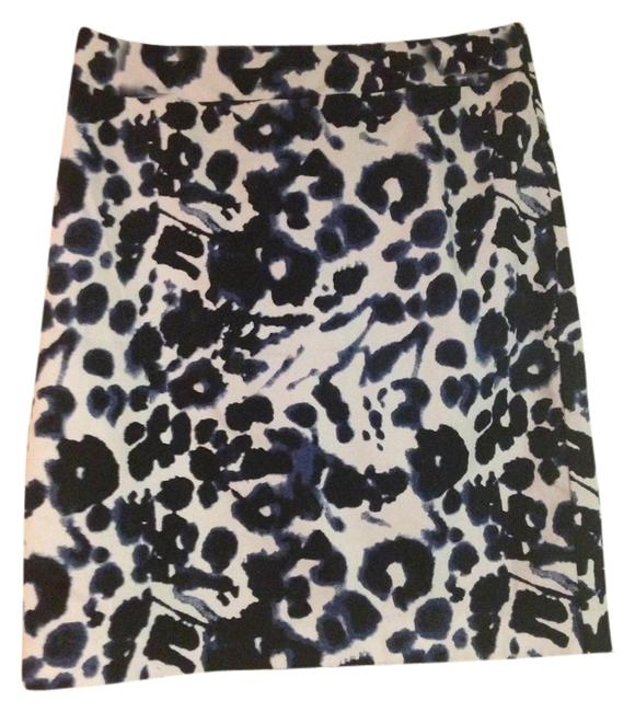 Valerie Bertinelli Pattern Print Work Versatile Fun Skirt Black, Blue and White