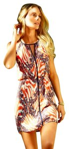 ViX short dress orange/off-white/purple print on Tradesy