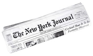 Kate Spade New York Journal Newspaper White and Black Clutch