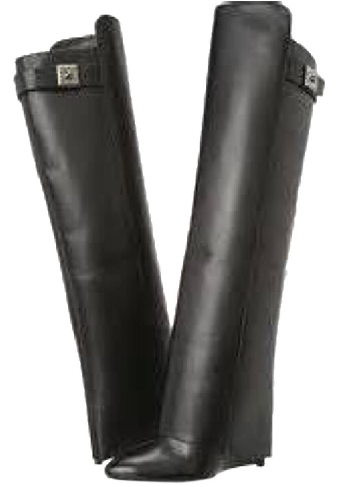 f7e66f6d6a0 Enzo Angiolini Edamus Black Leather Over The Knee Hidden Wedge Boots Booties
