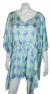 VALIMARE VALIMARE 62 NWOT $229 MULTICOLOR BLUE TUNIC COVERUP BATWING SATIN SILK SZ OS