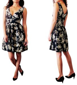 Vintage short dress Black Floral Plunge A-line on Tradesy