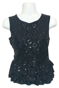QMack Sequined Lacy Peplum Top Black