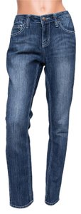Earl Jean Slim Cut White Sitching Contrast Straight Leg Jeans-Medium Wash
