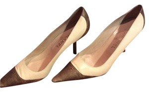 Chanel Pink and Brown Lizard Spectator Pumps